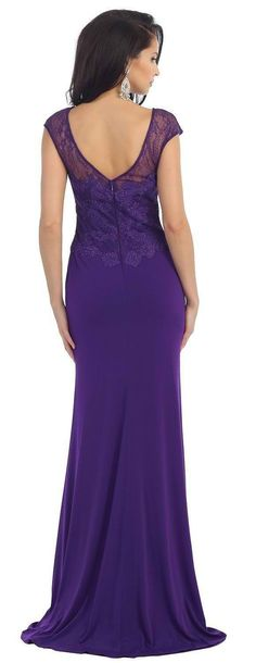 Long Cap Sleeve Lace Applique Formal Evening Dress