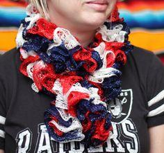 SALE Patriotic Crochet Scarf, Red White & Blue Scarf, Ruffle Scarf, Frilly Scarf, Crochet Wrap, Crochet Scarf, Metallic Sashay Scarf