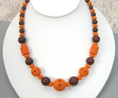 Art Deco Galalith Beaded Necklace Orange and Chocolate Brown