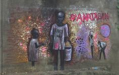 """Ana Taban is Arabic for """"I am tired"""". Artists in South Sudan are painting for peace. Nearly one million children have been displaced in the war, which has devastated a nation. This artwork shows the suffering of children."""