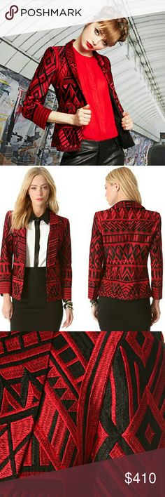 Alice + Olivia Red/Black Blazer Never worn. Original tags attached. Two tone red/black embroidery forms an elaborate geometric pattern on this tailored blazer. Smooth labels frame the hook and eye packet, and welt pockets lay at the hips. Padded shoulders. Long sleeves. Lined. Fabric: Embroidered weave silk. Shell: 100% silk. Lining: Polyester. Dry clean Alice + Olivia Jackets & Coats Blazers