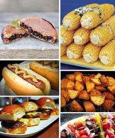 backyard birthday party ideas for adults   bush pies, corn on the cob, hot dogs, potatoes, hamburger sliders ...