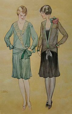 Art Decó ~ Late 1920's Fashion - Note the shorter skirt length -