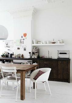 white & dark wood