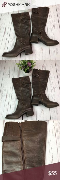 Lucky Brand Brown Leather Riding Boots Sz 5.5 In wonderful preowned condition. Upper leather. Really nice Boots. Lucky Brand Shoes Heeled Boots