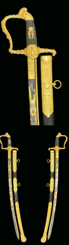 A FINE SWEDISH ROYAL SWORD OF HONOUR GIVEN BY KARL XIV JOHAN, KING OF SWEDEN, WITH AMETHYST SET GILT-BRASS HILT AND GREEN PORPHYRY GRIP, CIRCA 1818