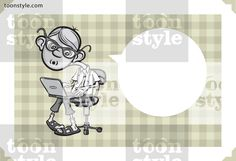 Greeting card with cartoon geek boy – personalize your card with a custom text