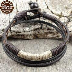 Men's leather and hemp bracelet