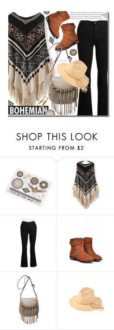 """""""Bohemian Style: Fall Poncho"""" by beebeely-look ❤ liked on Polyvore featuring NYDJ, Chloé, boho, hats, Bohemian, poncho, twinkledeals and plus size clothing"""