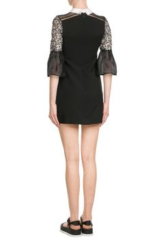 Bell Sleeve Dress with Collar  from SELF-PORTRAIT | Luxury fashion online | STYLEBOP.com