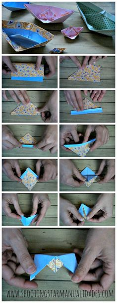 Caja explosiva marinera con barco de papel ~ Shooting Star Manualidades Playing Cards, Paper Boats, Jelly Beans, Recycling, Crates, Paper Envelopes, Playing Card Games, Game Cards, Playing Card