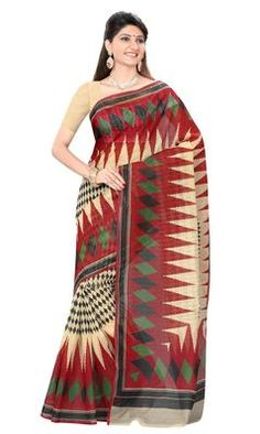 Lovely Multi Colored Printed Blended Cotton Saree Cotton Sarees on Shimply.com