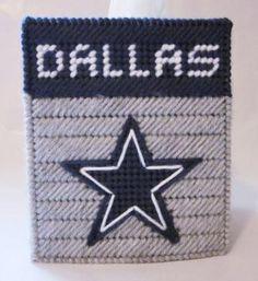 Plastic Canvas Tissue Box Patterns | Dallas Cowboys tissue box cover in plastic canvas PATTERN ONLY