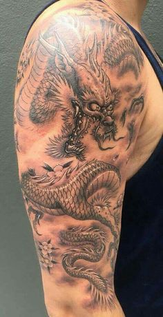 Scary Tattoos, Body Art Tattoos, Cool Tattoos, Awesome Tattoos, Asian Dragon Tattoo, Dragon Sleeve Tattoos, Mens Shoulder Tattoo, Dragon Tattoo Designs, Dragons