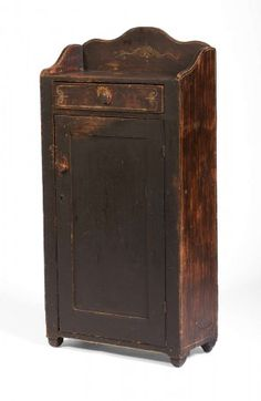 New England Hand Painted Grain Cabinet..
