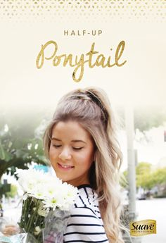 """Turn up the fun with this half-up hair tutorial from @meghanrienks. Step 1: Start with Suave Professionals Luxe Style Infusion Volumizing Weightless Blow Dry Spray on damp hair, and volumize while you blow dry. Step 2: Brush the top section of your hair into a high ponytail. Wrap a small section of hair around the elastic and secure with a bobby pin. Step 3: Curl your hair using a 1"""" curling iron. Set your style with Suave Professionals Luxe Style Infusion Plump Hold Hairspray."""
