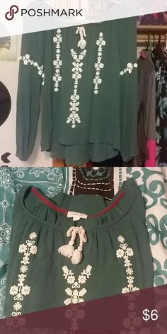 Long sleeve Teal long sleeve embroidered shirt. With tie in fron. The sleeve have elastic around the ends, and it is a little bit of a high low. Size L, never worn. taylor& sage  Tops Blouses