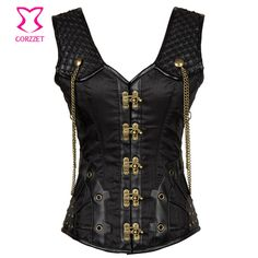 Corzzet Black Steel Boned Buckle Steampunk Overbust Corset Vets Slimming Body Shaper Corsets And Bustiers  Gothic Plus Size 6XL #Affiliate