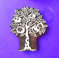 Large Pomegranate Anar Tree Hand Carved by PrintBlockStamps