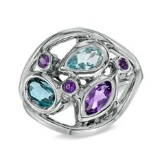 Blue Topaz and Amethyst Abstract Ring in Sterling Silver - View All Rings - Zales