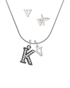 Black Nickel Crystal Initial - K - V Initial Charm Necklace and Stud Earrings Jewelry Set ** Visit the image link for more details. #Jewelry
