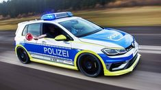 Oettinger dresses VW Golf R as flashy German police car