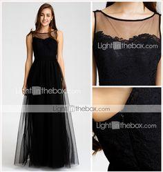 Floor-length Tulle Bridesmaid Dress - Black A-line Bateau ( try  BURGUNDY02016 – $114.39