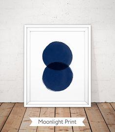 Minimalistische blau Poster Marine abstrakte von MoonlightPrint
