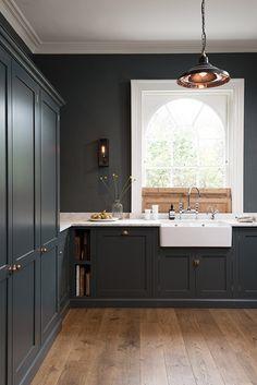Beautiful kitchen with dark grey cabinets. www.choosechi.com