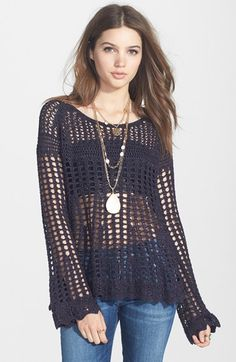 Free People 'Annabelle' Crocheted Pullover available at #Nordstrom
