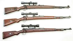 Of all Germany's sniper rifle attempts, these three versions were the most successful. All built on basic K98k Mauser 98 rifles, they include (top) short siderail mounts, low turret mounts (middle) and has long side rail mounts (bottom). All scopes are one brand or another of ZF39 4X power.
