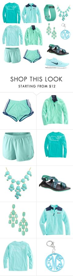 """Day 1// Blue"" by hannahmwarren24 ❤ liked on Polyvore featuring Fitbit, Vineyard Vines, NIKE, Chaco and Stella & Dot"