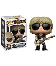 """Rock on with this cool Guns n Roses vinyl figure! The officially licensed Duff Mckagan vinyl figure from Funko Toys features the Guns n Roses bassist in his sunglasses, bass guitar and tattoos on his arms. Stands approximately 4.5-5"""" tall. ."""