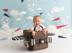 Airplane first birthday cake smash. Red, white, and blue. Clouds and airplanes. Birthday Cake Smash, First Birthday Cakes, Cake Smash Pictures, Chadds Ford, Chester County, Blue Clouds, Photographing Babies, Event Ideas, Airplanes