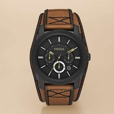 Machine Cuff Leather Watch – Desert Sand with Black $125 This rugged watch wears like a cuff with its over-sized case and wide strap. Try it with your most casual look, or partner it with a button up and jeans.