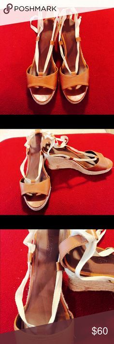 J.Crew tan leather espadrilles SZ 10/11 see ad J.crew tan leather ankle tie espadrilles. Bottom says 11, but can fit size 10. Great condition with very minimal signs of wear. Great with a variety of outfits neutral color can be dressed up or down! Non-slip bottoms. 3.5 inch wedge heel. Retail for $125, but OPEN to OFFERS!!! J. Crew Shoes Espadrilles
