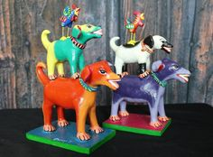 Small Tower of Dogs & Rooster! Ideal for Childs room! Mexican folk art Ortega