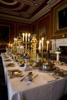 The dining room at Attingham Park, set for a Regency-era dinner. ©NTPL/David Levenson