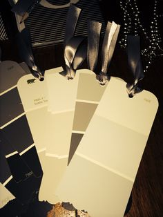 Fifty Shades of Grey Book Marks made from Grey paint charts and grey ribbon