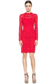 VALENTINO Tubino Lace Dress in Red