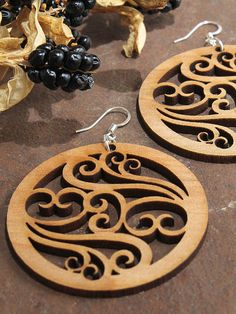 Filigree Earrings - Laser Cut Wooden Hoops - Sustainable Harvest Wisconsin Wood . Timber Green Woods on Etsy, $15.95