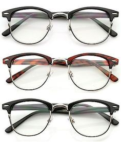 e5fa9b88a1 80  s Vintage ClubsMan Horned Rim Half Frame Clear Poly Carbon Lens Glasses  in Clothing