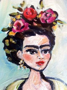 Edgy Frida Kahlo Painting Small Frida Kahlo Original Signed Artist Print by DevinePaintings, $9.75