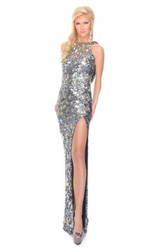 Precious Formals L8916 High Neck Cowl Back Sequin Beaded Prom Pageant Dress