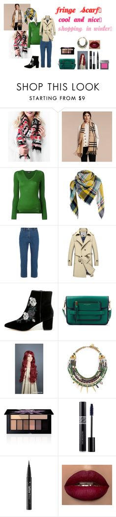 """""""For Scarlett (friend) - Scarlett's ideal wardrobe by me: #321: Fringe scarf!"""" by sarah-m-smith ❤ liked on Polyvore featuring Cents of Style, Burberry, Dsquared2, KÉJI, Steven, Marc Jacobs, Lizzie Fortunato, Smashbox, Christian Dior and Kat Von D"""