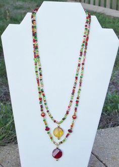 HandMade Artisan Necklace Beaded Multi Strand Fall by TCJdesigns, $38.00