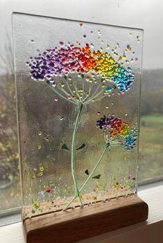 Cheerful Rainbow Allium Flower fused glass Art Picture Sun   Etsy Fused Glass Ornaments, Fused Glass Art, Glass Wall Art, Broken Glass Art, Mosaic Art, Mosaic Glass, Wooden Display Stand, Glass Fusion Ideas, Neurone