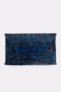 OLIVEVE Cleo Clutch in Blue Cobra Print Leather