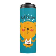 Yoga Cat Keep Calm And Love Thermal Tumbler - cat cats kitten kitty pet love pussy