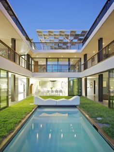 Inner enclosed garden with luxury swimming pool